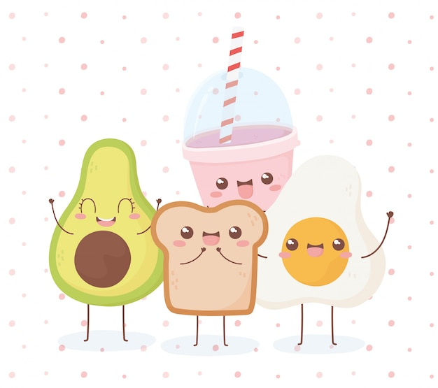Uovo fritto di avocado e pane kawaii cibo personaggio dei cartoni animati