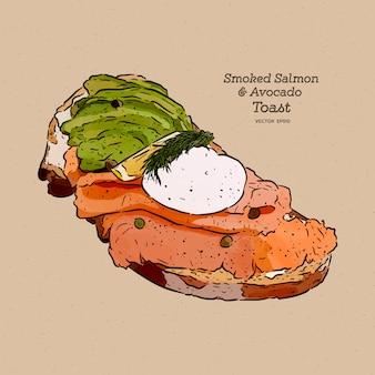 Uovo in camicia su pane tostato, con salmone affumicato e avocado, schizzo di disegno a mano.