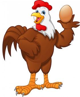 Uovo sveglio della tenuta del fumetto del gallo