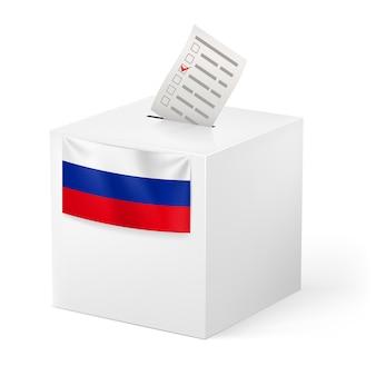 Urna con carta voicing. russia.