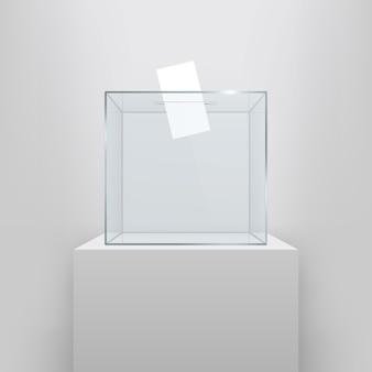 Urne con carta di voto nel buco.