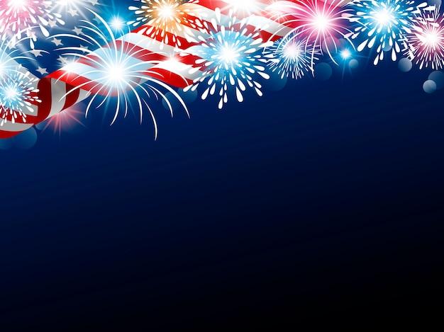 Usa 4 luglio giorno dell'indipendenza della bandiera americana con fuochi d'artificio
