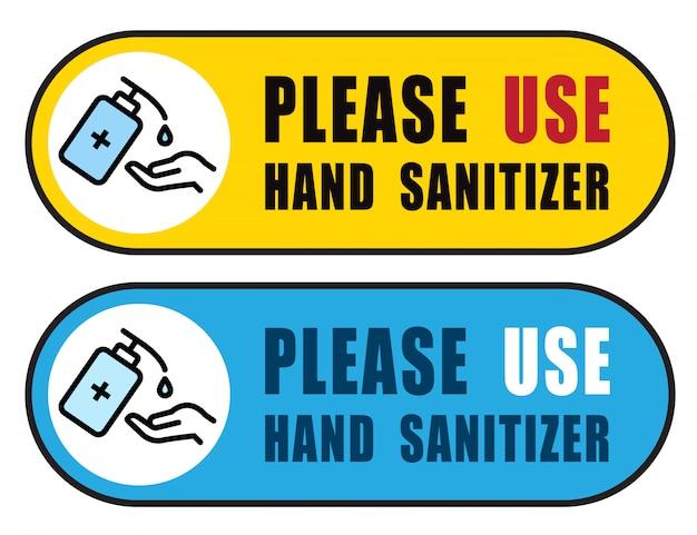 Usa disinfettante per le mani segno vettoriale illustrazione, contenuto - si prega di utilizzare disinfettante per le mani, precauzione per la situazione pandemica covid-19