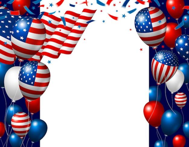 Usa il quarto della progettazione del fondo del giorno dell'indipendenza di luglio della bandiera americana e dei palloni