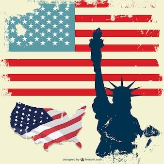 Usa liberty statua vettore di bandiera set