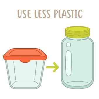 Usa meno plastica, scatola di plastica contro vaso di vetro