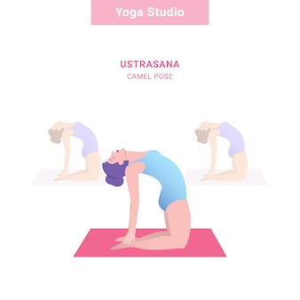 Ustrasana, posa di cammello. studio di yoga