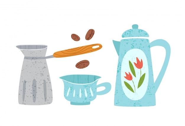 Utensile da cucina o elementi di design di utensili da cucina - teiera, tazza e caffettiera isolato su bianco