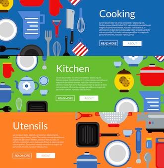 Utensili da cucina di stile piano banner web orizzontale e illustrazione di poster
