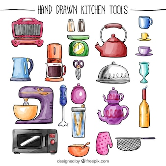 Utensili da cucina dipinte a mano