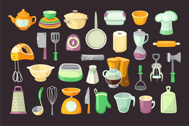 Utensili da cucina. illustrazioni isolate