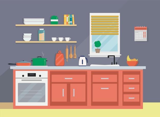 Utensili da cucina, lavandino, bollitore, stoviglie e mobili.