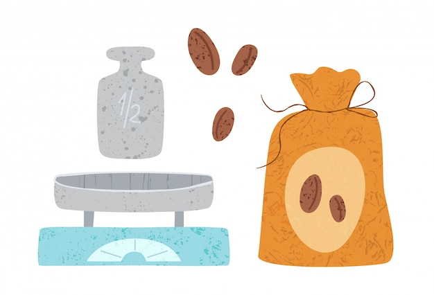 Utensili da cucina o elementi di design di utensili da cucina. scale, borsa del caffè e fagioli isolati su bianco