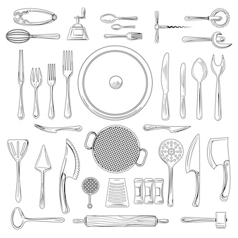 Utensili da cucina o schizzo di utensili da cucina