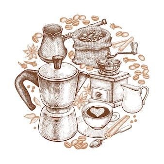 Utensili da cucina per cucinare il caffè.