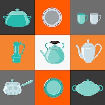 Utensili da cucina. utensili da cucina. oggetti domestici. elementi impostati. pentola, bollitore, coppa, piatto, piatto. illustrazione vettoriale