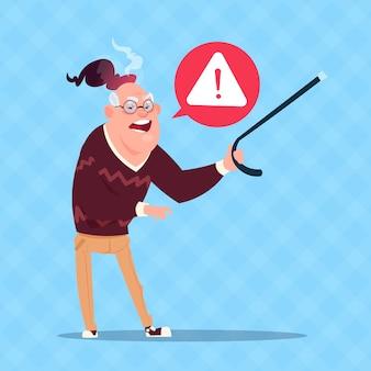 Utente anziano di nonno moderno di messaggio di errore dell'uomo senior