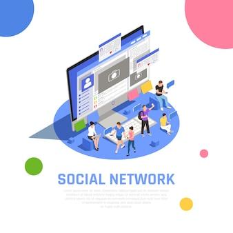 Utenti della rete di social media che condividono argomenti fotografici con gli amici che comunicano messaggi aprendo la composizione isometrica delle applicazioni
