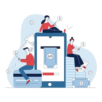 Utenti di smartphone che pagano online