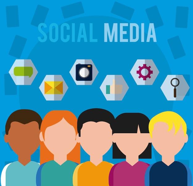 Utenti di social media con simboli rotondi