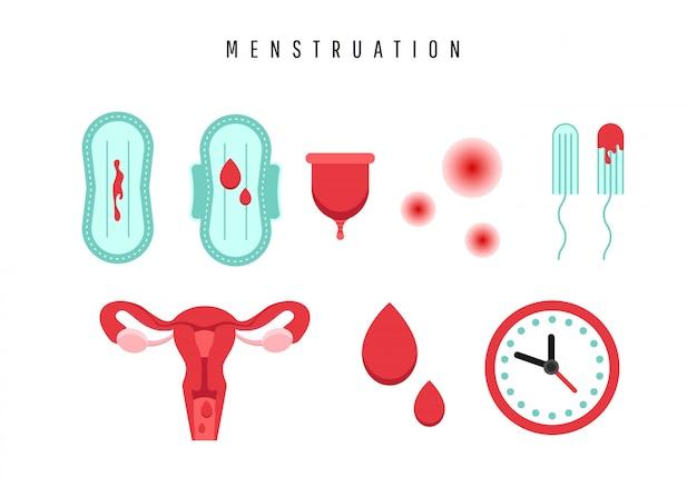 Utero con organo ovarico, tamponi, guarnizione, coppetta mestruale e goccia di sangue.