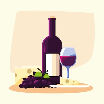 Uva e tazza del formaggio della bottiglia di vino