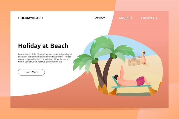 Vacanza all'insegna della spiaggia e dell'illustrazione della pagina di atterraggio