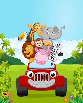 Vacanza animale della raccolta del fumetto con l'automobile rossa