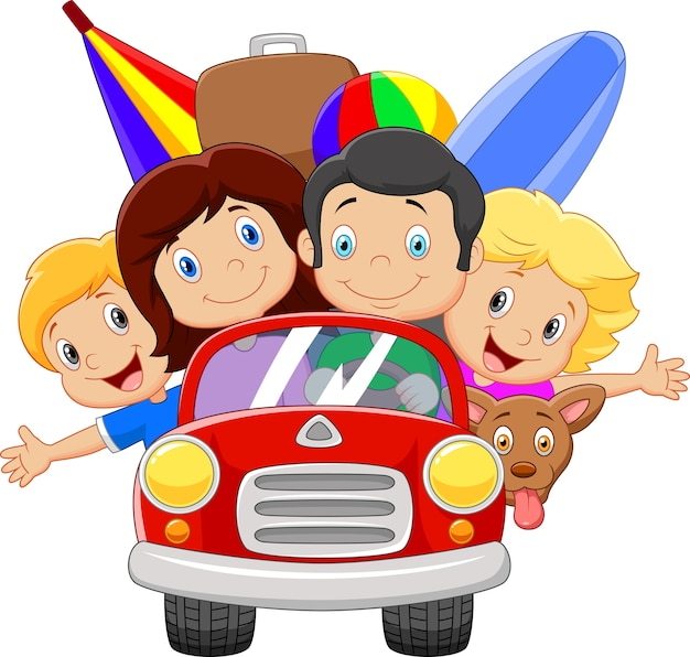 Vacanza dei cartoni animati con la famiglia