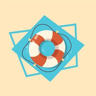 Vacanza di estate di concetto di vacanza del mare di estate dell'icona del salvagente