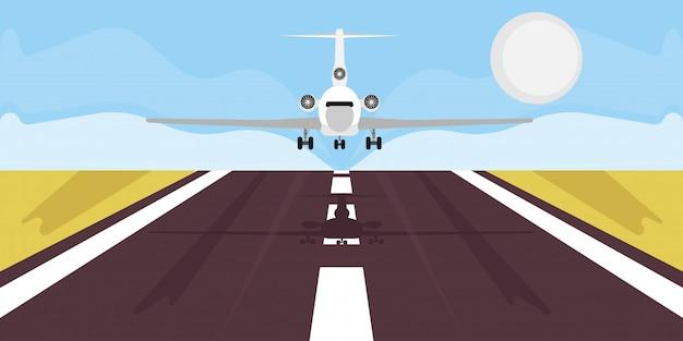 Vacanza di viaggio dell'illustrazione di atterraggio dell'aeroplano. partenza della compagnia aerea imbarco viaggio d'affari.
