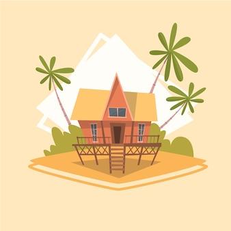 Vacanza estiva di concetto di vacanza del mare di estate dell'icona della camera del bungalow
