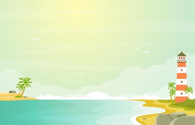 Vacanza nell'illustrazione tropicale del paesaggio di estate della palma del mare della spiaggia