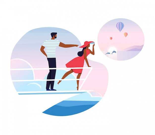Vacanza romantica, illustrazione da crociera