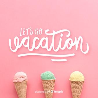 Vacanza scritta sfondo con foto