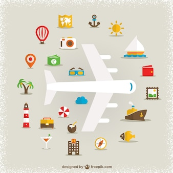 Vacanza simboli piatto disegno vettoriale