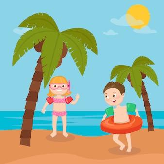 Vacanze al mare per bambini. nuoto sulla spiaggia della ragazza e del ragazzo. illustrazione vettoriale
