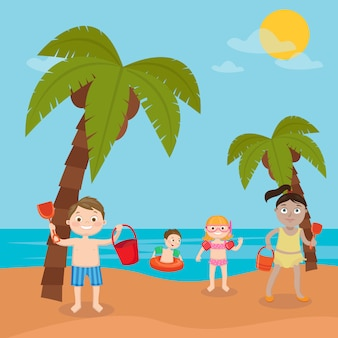 Vacanze al mare per bambini. ragazze e ragazzi che giocano e nuotano sulla spiaggia. illustrazione vettoriale