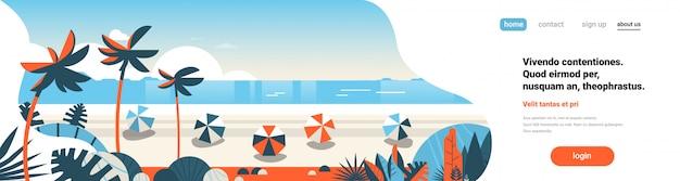 Vacanze estive alla pagina di destinazione della spiaggia tropicale