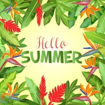 Vacanze estive con foglie di palma.