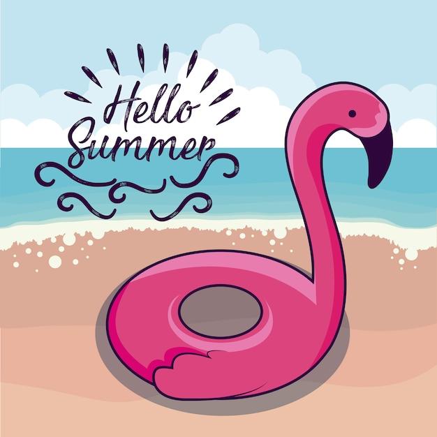 Vacanze estive con galleggiante fiammingo in spiaggia