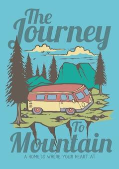Vacanze estive con il viaggio della carovana alla retro illustrazione della foresta dei pini e della montagna