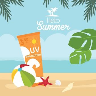 Vacanze estive crema solare sulla spiaggia