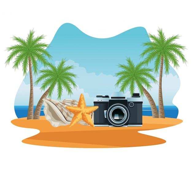 Vacanze estive e cartoni animati sulla spiaggia.