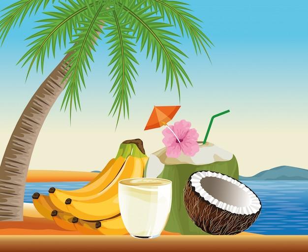Vacanze estive e spiaggia in stile cartoon