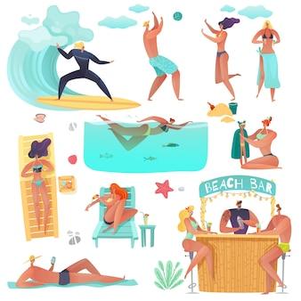 Vacanze estive in spiaggia. set di vacanzieri sulla spiaggia persone estate attività articoli su uno sfondo bianco