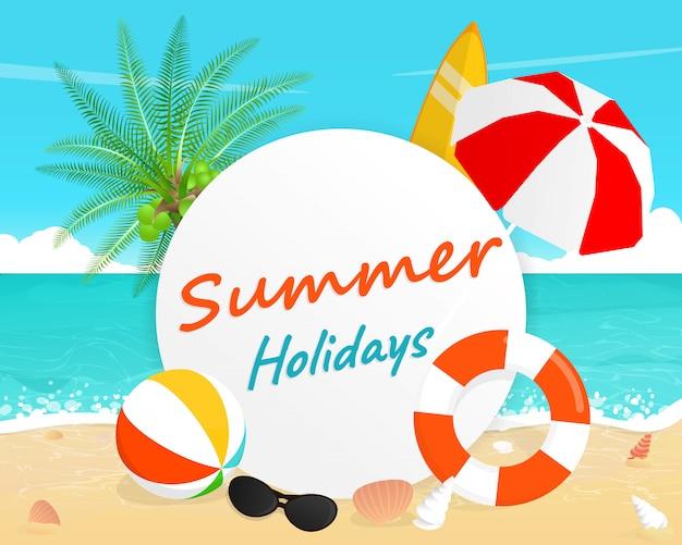 Vacanze estive lettering con illustrazione spiaggia tropicale