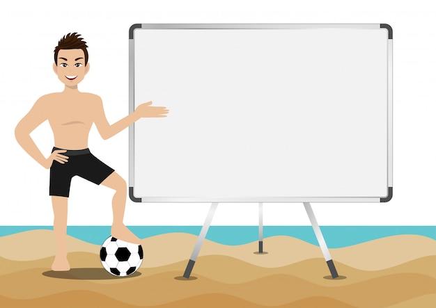 Vacanze estive. personaggio dei cartoni animati sulla spiaggia; bell'uomo con nuoto pant e attività disegno vettoriale