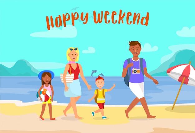 Vacanze estive sulla spiaggia cartolina vettoriale con testo