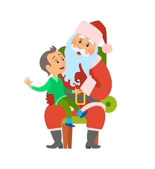 Vacanze invernali di natale, babbo natale e bambino